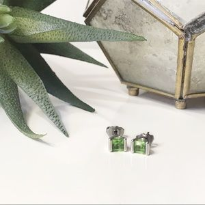Vintage Peridot and Silver Post Earrings